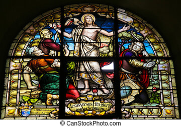 Messiah - Stained Glass of the resurrection of Christ in the...