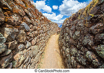 Narrow Passage in Ruins - Narrow passage in the ruins of...