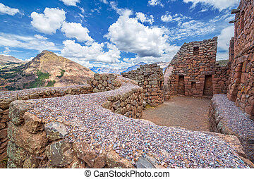 Pisac Ruins - Ancient Incan ruins of Pisac in the Sacred...