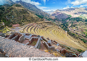 Ruins and Terraces - Ruins and terraces at Pisac in the...