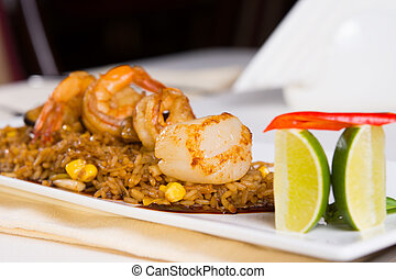 Seafood Fried Rice with Garnish - Seafood Fried Rice with...