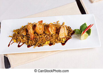 Seafood Fried Rice on Square Plate at Place Setting