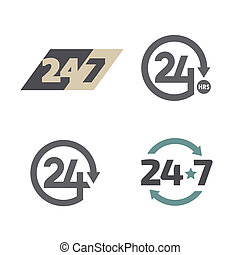 Open around the clock 24 hours 7 days a week icons set