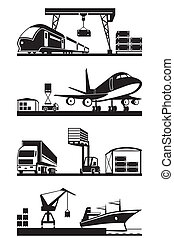 Cargo terminals in perspective - vector illustration
