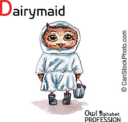 Alphabet professions Owl Dairymaid character on a white...