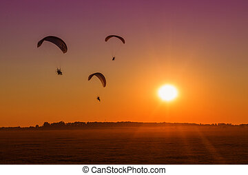 paragliding into the sunset-Hungary