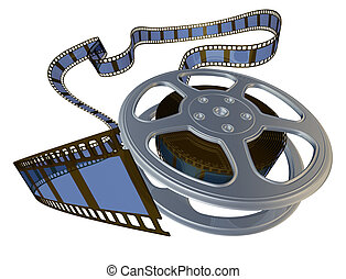 3d rendered film reel spooling from its case