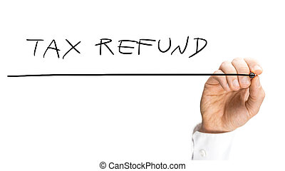Tax refund - Close up view of the hand of a man writing -...