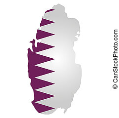 Qatar Flag - Flag of Qatar overlaid on outline map isolated...