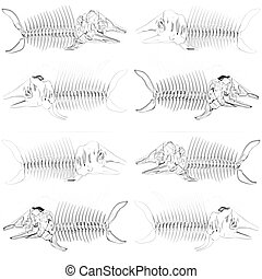 Set of 3d metall illustration of fish skeleton on a white...