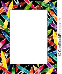 Crayons Frame, multicolor border, black background, copy...