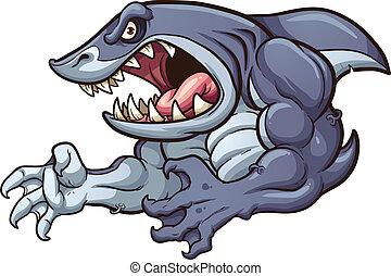 Raging shark - Raging strong shark. Vector clip art...