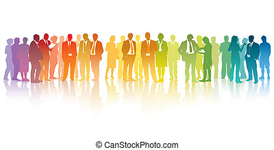 Colorful businesspeople - Colorful crowd of standing...