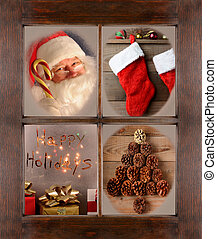 Window with Four Christmas Scenes - Four Christmas scenes in...