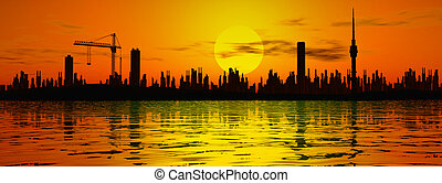 city - Buildings and sunset,cloud and black silhouette,night...