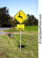 Deer Crossing Road Sign