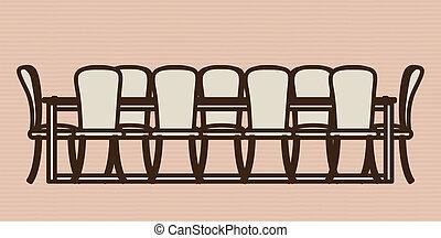 Furniture design over beige background, vector illustration