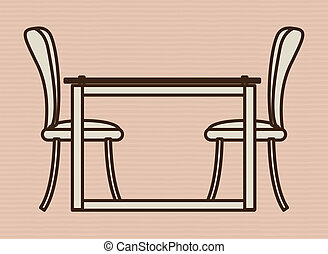 Furniture design over beige background, vector illustration