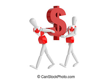 canada dollas currency white man - three dimention model...