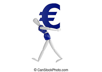 euro currency white man - three dimention model render euro...