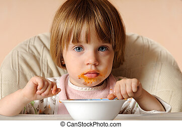 girl finished eating spaghetti sitting on the chair - girl...