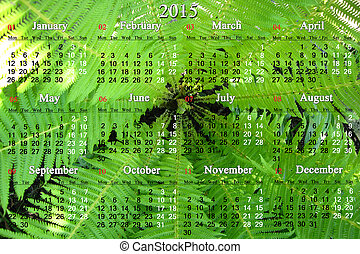 calendar for 2015 year on the background of fern