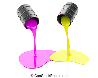 Spilled Paint Cans on white background