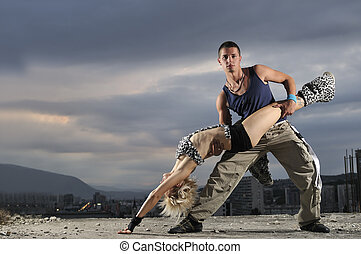 romantic urban couple dancing outdoor - romantic urban...