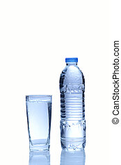 Water in plastic bottle with glass on white background
