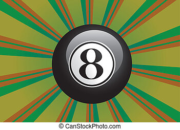 Eight Ball - Black eight billiard ball on colorful...