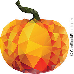 Polygonal Pumpkin - Geometric orange pumpkin illustration on...
