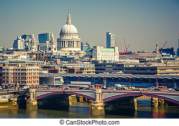 Aerial view on London city - Aerial view on Blackfriars...
