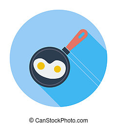 Scrambled eggs. Single flat color icon. Vector illustration.