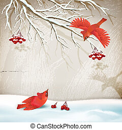 Winter Landscape with Birds - Vector winter vintage style...