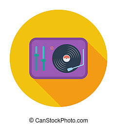 Turntable Single flat color icon Vector illustration