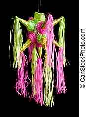 pinata - traditional pinata star shape from mexico isolated...