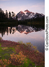 Mount Mt Shuskan High Peak Picture Lake North Cascades - Mt...