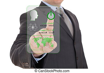 Futuristic security system with businessman isolated on...