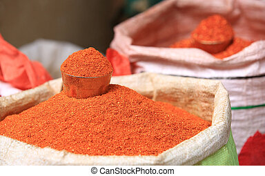 closeup of red spicy pepper powder