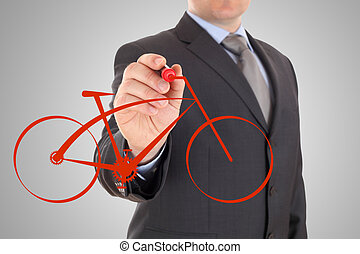 Man's Hand draws a bicycle