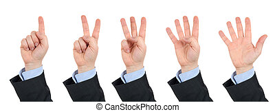 businessmans hand, counts on fingers from one to five