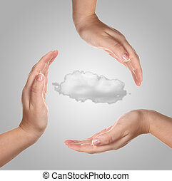 Woman hand with one cloud