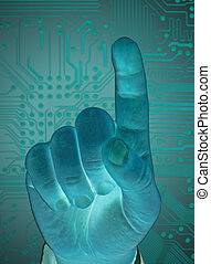 hand with secure data by touch screen, future technology