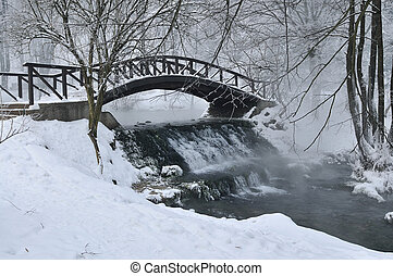 small wooden bridge at winter - small wooden bridge over...