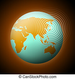 Earthquake - Earth with quake waves in Japan.