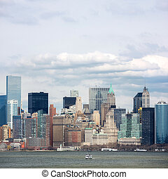 Lower Manhattan downtown - New York City at Lower Manhattan...