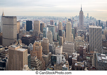 New York City skyline with urban skyscrapers USA.