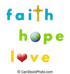 Faith, Hope, Love - Sign for faith, hope, and love.