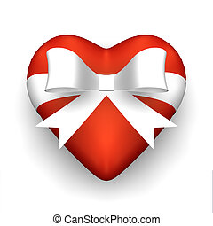 Gift of Love - Red heart with white ribbon.