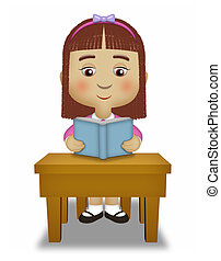 Girl Reading - Girl sitting reading a blue book.